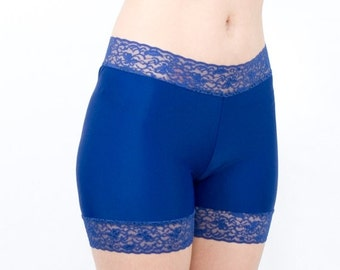 30% OFF Lace Biker Shorts Spandex Navy Blue Anti Chafing Bottoms