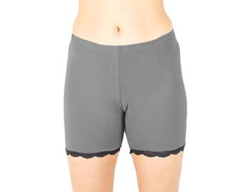 Solid Slip Shorts Grey Tap Pants Long Underwear No Chafe Shorties Bamboo PJ Pants Organic Biker Shorts