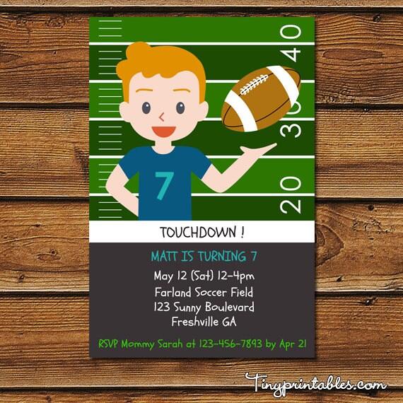 Football Invitation Football Birthday Invitation Boys Football – Football Party Invite