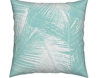 Palms Aqua Pillow Cover