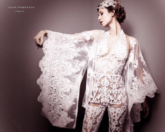 Irina Shabayeva Black lace cropped kimono top.