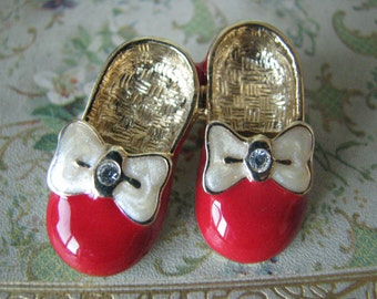 Vintage Ruby Slippers Gold Plated Enamel Slippers Shoes Ruby Slippers Red Shoes Rhinestones Costume Jewelry