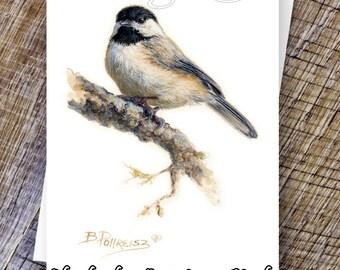 Chickadee Note Card - Black Capped Chickadee - Chickadee Print - Wildlife Note Cards - Wild Bird Prints
