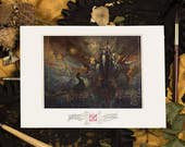 """Fine Art Giclee Print A4 of """"Les Fleurs du Mal"""", signed by stamping - Protected by a thick black board and packaged in transparent blister."""