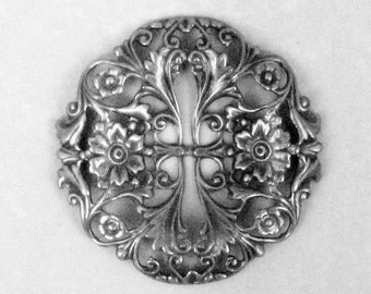 Fabulous Floral Filigree - 39mm - Ox Sterling Silver Plated Brass, 39mm, Leaves and Flowers, Donation Item