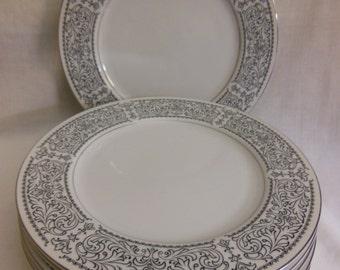 "Vintage London Terrace by Premiere Platinum Trim 10 3/4"" Dinner Plates set of 7 Fantastic condition M 3002 plates offers considered"