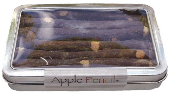 Apple Pencil - The Original Tin Set of 7 Mixed Color Twig Pencils Made in USA