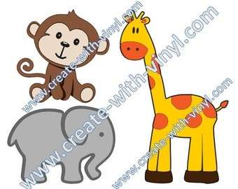 BABY ANIMAL SVG- giraffe, elephant, monkey - Baby - Cricut, Cameo, Silhouette, for baby clothes Tshirts,burp diapers