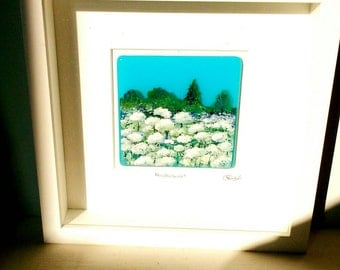 Hand painted summer meadow on fused glass