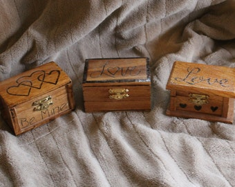 Your choice, small wood burned ring box