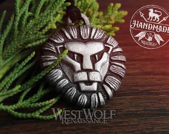 Lion Head Pendant --- Viking/Celtic/Medieval/Heraldic/Royal/King/Silver/Cat/Face/Horiscope/Leo