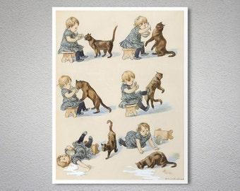 Stickers vintage chat arctique