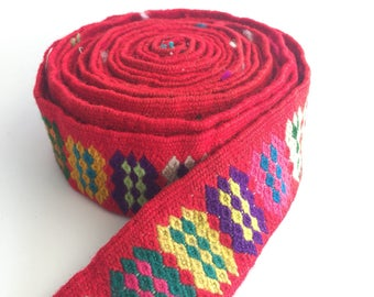 Handwoven handmade vintage ethnic Andean Peruvian tribal boho woven trim  upholstery loom Cuzco RR1