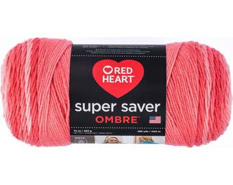 Red Heart Super Saver Ombre Yarn Coral Color Gradient Yarn
