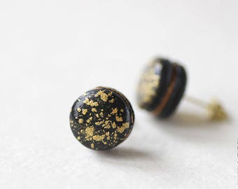 Starlight Night Macarons Stud Earrings - Small Ear Studs - Earrings Post - Food Jewelry - Black - Gold