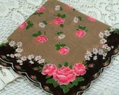 Vintage Hankie Gold, Dark Brown, Light Brown Pink White Flowers #Y8