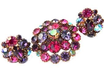 Amethyst And Fuschia Brooch Earring Set Vintage Midcentury Jewelry Karu Arke Inc Collectible For Women Rainbow Aurora Borealis Multicolor