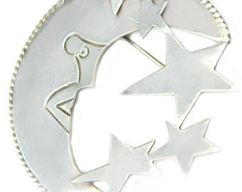 Mexico Sterling Brooch Taxco Moon And Stars Vintage Mexico Silver Large Statement Pin Collectible For Women Elegant Modern Old World Style