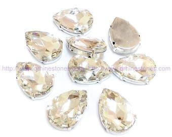Sew On Rhinestone PEAR SHAPE Crystal Clear fancy stones in silver setting 10pcs