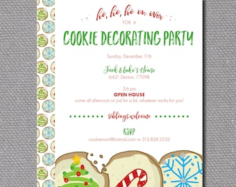 "Custom Printable 5""x7""Cookie Decorating Party Invitation"