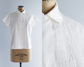 1950s Blouse - Vintage 50s White Cotton Blouse - Abril Blouse