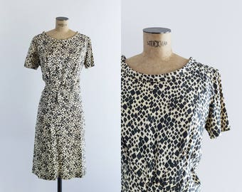 Vintage 1960s Graphic Silk Dress - 60s Look - Get On The Bus Dress