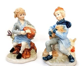 SALE Vintage Porcelain Figurines Farm Life Rural Boy and Girl,Pair of Italian Collectible Figurines Boy and Girl.