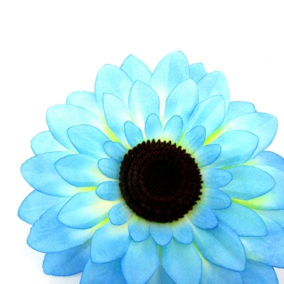 "6pcs Large Silk Blue Sunflowers Heads 5.5"" - Fabric - Artificial Flower Wedding & Home decor"