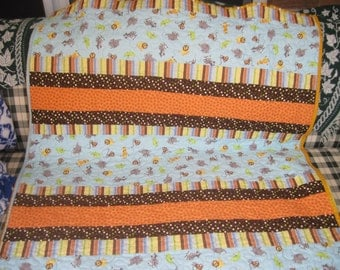 Safari Animals Baby and/or Toddler Quilt