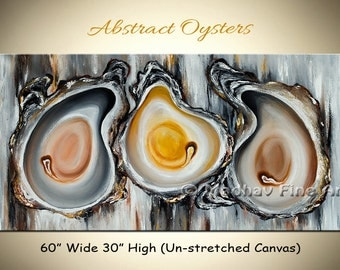 Oyster painting, Large abstract painting, Art on canvas, Large wall art, Abstract food painting on canvas