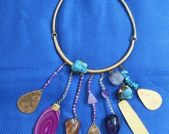 Vintage PHILIPPE FERRANDIS Designer SHOWPIECE Choker Necklace.Amazing on Gilt.Signed and colourful
