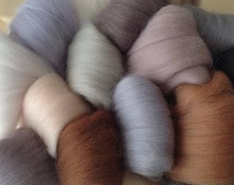 16 NEUTRAL Colours, Soft and fine felting wool, Needle-felting or Wet-felting.