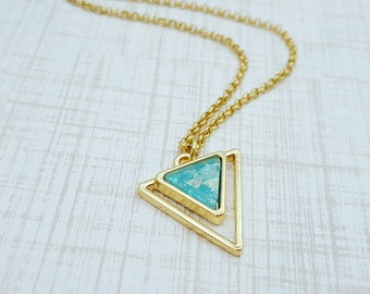 Aquamarine Dream Necklace, Triangle with Opal, Minimalist Jewelry, Gold Jewelry, Geometric Jewelry, Double Triangle, Everyday Jewelry