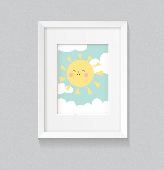 You are My Sunshine Pastel Baby Girl Playroom Nursery Rainbow with Clouds Soft and Cute Background Print - Digital Instant Download