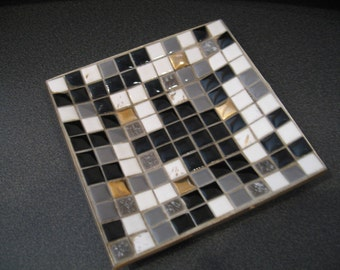 Vintage Mosaic Plate With Goldtone Base