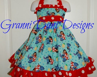 lilo and stitch disney halter twirl dress ruffle baby toddler girl 6 12 18 24 months 2t 3t 4t 5t 6 7 8 disney red white polka dot hawaii