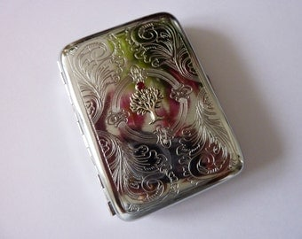 Women Cigarette Zigarillo Case Business Card Etui silver vintage Style Steampunk Case for 16 Cigarettes gifts for her