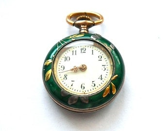 Antique 19th Century Argent Dore Swiss Pocket Watch . Guilloche Enamel.  K & L 0,8001 . Circa 1910  *Not working