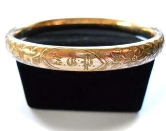 Victorian,  Edwardian Bracelet  Engraved Floral Hinged Rose Gold Filled Bangle