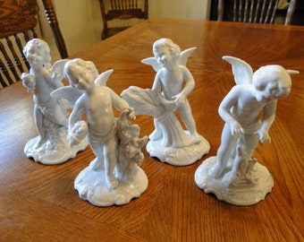 Vintage Dresden Four Season Angels, German Cherub Figurines, Autumn, Summer, Buy One or All!