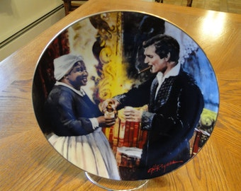Retired W. L. George, Gone with the Wind Golden Anniversary Collector Plates, Toast to Bonnie Blue, Signed, Eleventh Issue, Epic Movie Scene