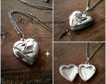 The Swan Princess Inspired Odette Locket Necklace - Swan Locket - Heart locket necklace - Sterling Silver plated brass