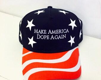 Make America Dope Again American Flag Hat Stars Red White Blue Trucker 5 Panel Golf Style