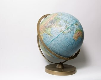 World Globe 12 Inch Relief Map Replogle 1970s