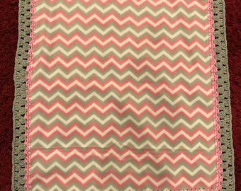 Pink and Grey Chevron Stripe Newborn Blanket