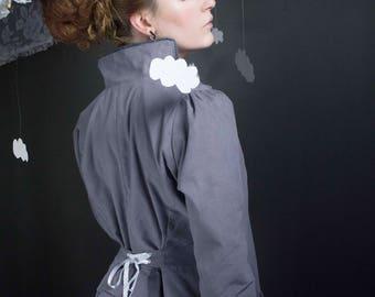 trench Cathy gray cotton velvet bead
