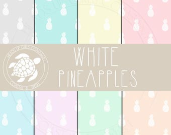 Coastal Nautical Digital Paper Set with White Tropical Pineapples in Pastel Colors - Personal and Commercial Use CP038