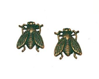 3 Bug Stampings, Brass Stamping, Bug Charms, Patina, 18mm