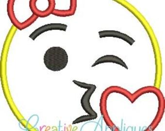 Girl Emoji Kiss Applique shirt - Customizable -  Children's Birthday Shirt 13