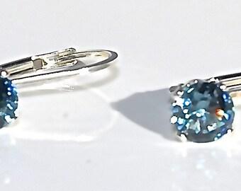 Blue Zircon Sterling Silver Leverback Earrings
